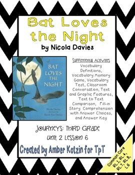 Bat Loves The Night Mini Pack Activities 3rd Grade Journeys Unit 2