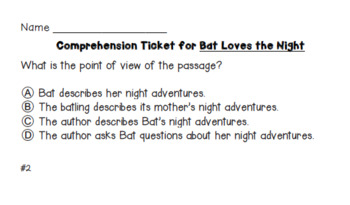 Bat Loves the Night Comprehension Tickets - 3rd Grade Journeys Test Prep