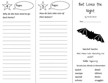 Bat Loves the Night Trifold - Journeys 3rd Gr Unit 2 Wk 1 (2014, 2017 Common C)