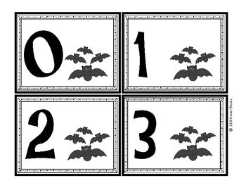 Bat Number Cards 0 - 20