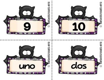 Bat Number Fluency Cards   Spanish   1-10