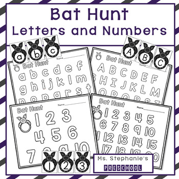 Bat Number and Alphabet Hunt Preschool Activity