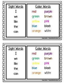 Bat Printable Book {Sight Words & Color Words}
