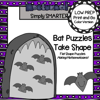 Bat Puzzles Take Shape:  LOW PREP Flat Shape Bat Themed Puzzles