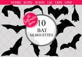 Bat Silhouettes Clipart Clip Art (AI, EPS, SVGs, JPGs, PNGs, PDF)
