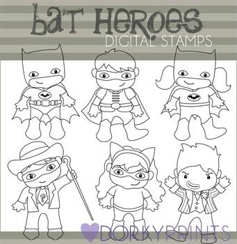 Bat Super Heroes Black Line Art