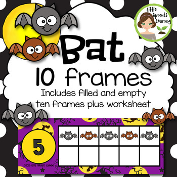 Bat Ten Frames (includes worksheets) Great for Halloween Math Centers!