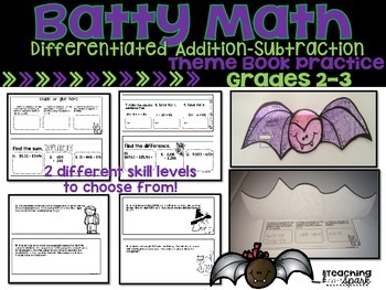 Bat Theme Book Addition and Subtraction Grades 2-3