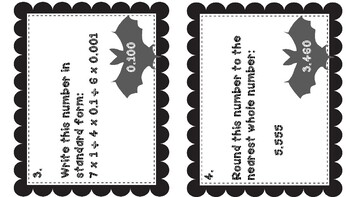 Bat Themed Read, Write, and Compare Decimals Puzzle Runner