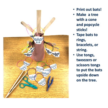 Bat Tree Fine Motor Tongs Activity