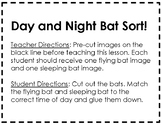 Bat Unit Materials: Day and Night Sort