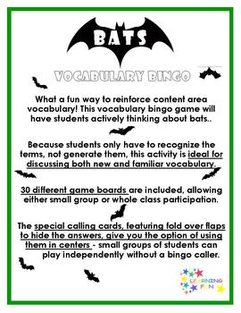Bat Vocabulary Bingo
