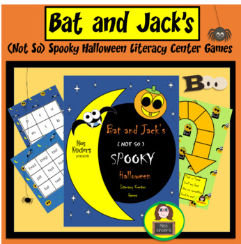 Miss Kinders Bat and Jack's Not So Spooky Halloween Literacy Center Games
