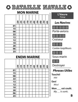 Bataille Navale - French Battleship Game - Time - L'Heure