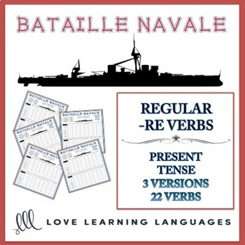 Bataille Navale - Regular French -RE Verbs + Verbs like PRENDRE