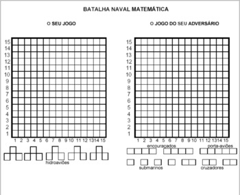 Batalha Naval - Fichas de trabalho de coordenadas cartesianas (Português)