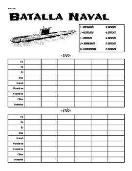 Batalla Naval ( Battleship ) con Verbos -AR