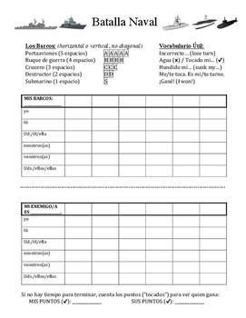 Batalla Naval (Battleship) Spanish Verb Conjugation Game