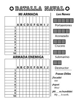 image about Battleship Game Printable named Batalla Naval - Spanish Battleship Recreation - Letters Figures