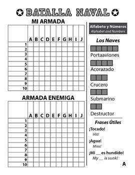 Spanish Battleship Game Bundle numbers dates time -ar -er -ir irregular verbs