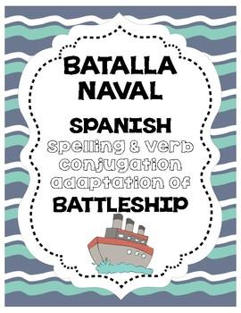 Batalla Naval Spanish Battleship for Verbs & Spelling