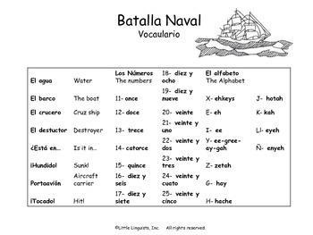 Batalla Naval/Spanish Battleship with Alfabeto & Números