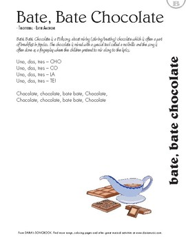 Báte, Báte Chocoláte - Free Lyric Sheet