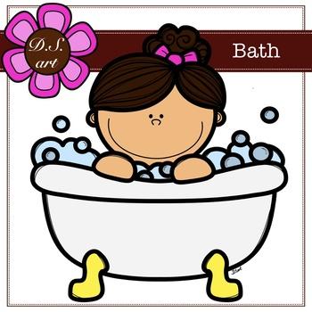 Bath Digital Clipart (color and black&white)