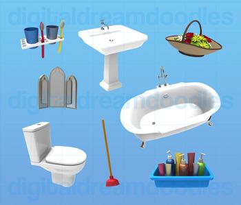 Bathroom Clip Art - Restroom Digital Graphics