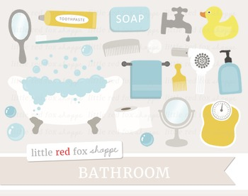 Bathroom Clipart; Bathtub, Soap, Bath Tub, Faucet, Scale, Mirror, Rubber Duck