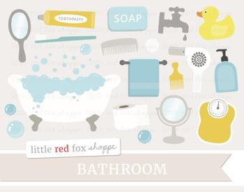 Bathroom Clipart; Bathtub, Soap, Bath Tub, Faucet, Scale,