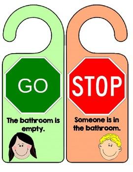 Bathroom Door Sign by Always in 2nd | Teachers Pay Teachers
