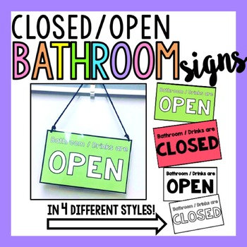 Bathroom/Drinks Closed and Open Sign