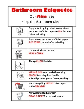 Bathroom Rules for Middle School Students Visual Aid