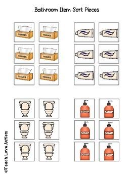 Bathroom Work Tasks or File Folders