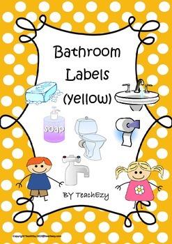 Bathroom Labels Yellow