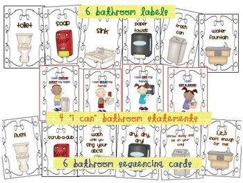 Kindergarten Routines: Bathroom Labels and Sequencing Cards and Posters
