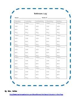 Bathroom Log (Blue) for Documentation