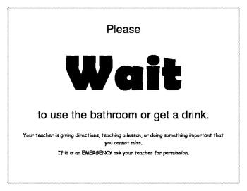 Bathroom Management Flip Chart