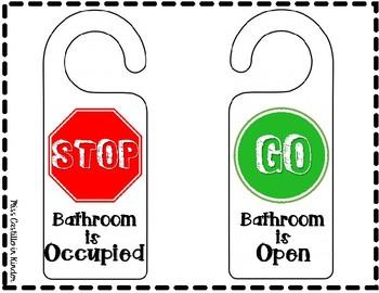 Bathroom Management Stop and Go Door Hangers