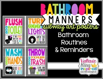 Bathroom Manners, Routines & Reminders Posters