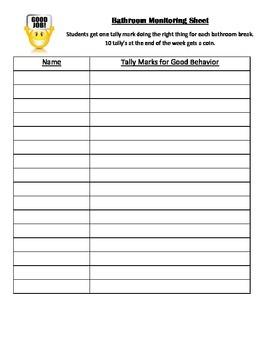 Bathroom Monitor Recording Sheet