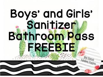 Bathroom Pass {Cactus Theme} FREEBIE