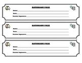 Bathroom Pass, Classroom Pass, and Homework Pass