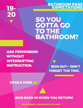 Bathroom Pass Expectations Poster