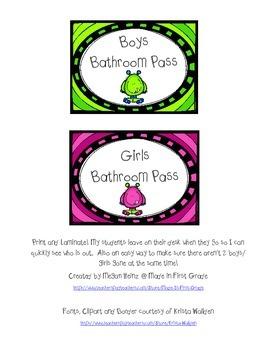 Bathroom Pass Freebie - Boys and Girls