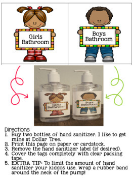 Bathroom Pass Label A Hand Sanitizer By Grade Sassy Pants Tpt