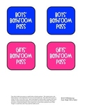 Bathroom Pass Labels