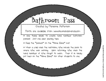 Bathroom Pass Labels For Hand Sanitizer Bottles By Teach To Be Happy