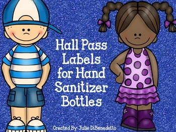 Bathroom Pass Labels for Hand Sanitizer Bottles